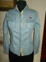 Chemisier coton bleu jeans KAPORAL XS 34/36 manches longues imprimé dos