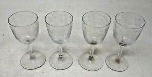 4 Vintage Etched Stemmed Sherry Glasses 11 cms Tall