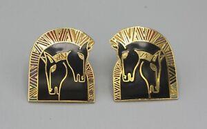 """Vintage Gold Laurel Burch """"Embracing Horses"""" Enamel Black Post Earrings"""