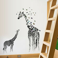 Animal Wall Sticker Giraffe Betterfly Train Nursery Baby Kids Room Decal Decor