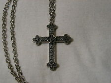 ...Silver Tone,Black Enamel Detailed Design CROSS Pendant Necklace...