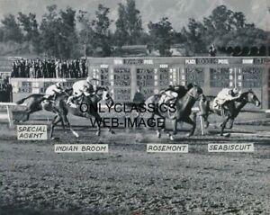 1937 SEABISCUIT CHAMP HORSE RACING ACTION SANTA ANITA PARK RACETRACK 8X10 PHOTO