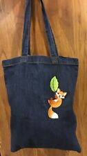 New Embroidered Cute Fox On Leaf Large Blue Denim Tote Book Shopping Bag Animal