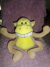 "Monkey Tan Yellow sitting 10"" King Plush Toy Stuffed Teeth toothy smile grin"