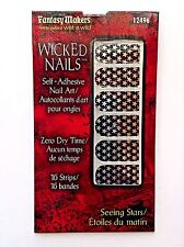 Fantasy Makers Nail Art Stickers Wraps Decals Appliques Black Silver Stars 16ct