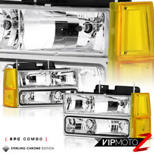 [8PC COMBO] 1994-1998 GMC Yukon Sierra 1500 2500 Chrome Signal Headlights Lamps