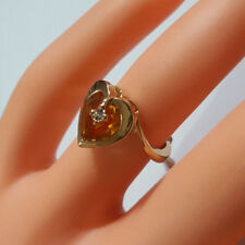STUNNING 18KGE HEART AMBER WITH CUBIC ZIRCONIAN GOLD RING, MADE IN U.S.A SIZE 9