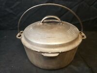 Vtg Wagner Ware Sidney -O- Cast Iron Bean Pot Dutch Oven & Lid 1268 Nickel Plate
