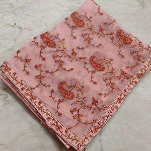 Vintage Indian Kashmir Wedding Hand stitched Embroidery Dupatta Scarf Veil Stole