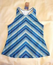 prAna Boost Printed Top Racerback Athletic Tank Top Women Extra Large Cove Blue