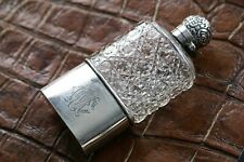 Fine Quality English Repousse Sterling Silver and Crystal Flask