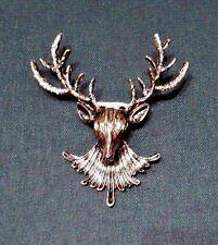 BRONZE DEER BROOCH stag elk reindeer antler hunter nature animal head pin G4