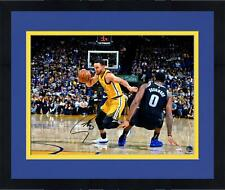 """Frmd Stephen Curry GS Warriors Signed 16"""" x 20"""" Dribbling vs. Drummond Photo"""