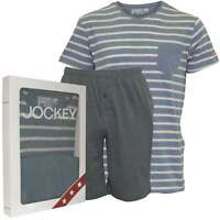 Jockey Striped Short-Sleeve Jersey T-Shirt & Shorts Men's Pyjama Set, Dusty Blue