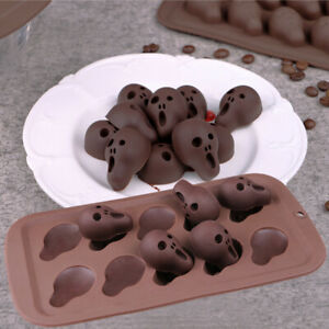 Silicone Halloween Ghost Skull Chocolate Mould Candy Ice Cube Tray Jelly Mold