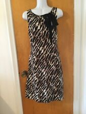 EUC ANN TAYLOR Trendy Design Dress Keyhole Bow Neckline Black/Cream/Beige Sz 12