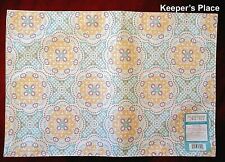 Waverly Traditions ASTRID Reversible Placemats Aqua Yellow Fabric Set Of 4 New