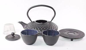 24 fl oz Black Dot Japanese Cast Iron Teapot Tetsubin Infuser Trivet Tea Set