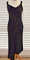 Long Black Evening Dress Gold and Silver Embellishments Emma Somerset - Size 10