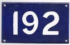 Old Australian used house number 192 door gate enamel metal sign in French blue