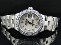 Ladies Stainless Steel Rolex Datejust Oyster Watch 2.5 Ct Diamond White MOP Dial