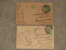 India-2 Postal Cards, used, Early 1900`s