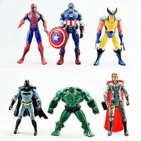 6 PIÈCES SET The Avengers Hulk+Capitaine+Carcajou+Batman+Spiderman+Thor Figurine