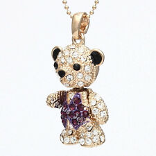Gold Purple Rhinestone Crystal Tuxido Teddy Bear Movable Pendant Necklace P616