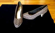 Ladies Ballroom Dance Shoes  Smooth/Standard Black&Gold Brocade  Sz 7 N USA NIB