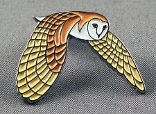 Metal Enamel Pin Badge Brooch Owl Barn Owl Bird Flying