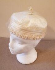Vintage Pillbox Hat, Wedding Ivory Netting Lace Sequins Rhinestones USA c.40-50s