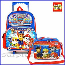 """Paw Patrol Rolling Backpack 16"""" Rolling Backpack Roller Luggage Lunch Bag 2 pcs"""