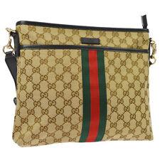 GUCCI Shelly Line GG Cross Body Shoulder Bag Brown Canvas Leather AK36811j