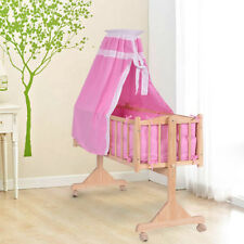 Baby Swing Crib Wooden Infant Cradle Rocking Cot W/ Bedding Set & Castors Pink