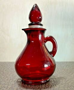 Vintage Avon Red Glass Pitcher Decanter Bottle with Strawberry Stopper