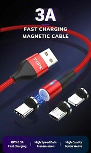 3A Magnetic Type C Micro USB iOS Fast Charger Charging/DataCordPhoneCable1m2m