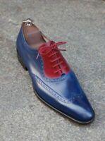 Chaussures à lacets en cuir véritable bleu et en daim rouge pour hommes faits à
