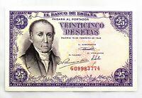 Spain-Billete. 25 Pesetas 1946. Madrid. A/Florez Estrada. R/ Somiedo. EBC+/XF+