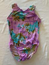 Girl's Gymnastics Sleeveless Leotard Purple Floral Youth Size Large