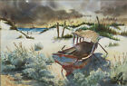 Ralph Ledesma Evocative Vintage Watercolor- Old Boat on Beach