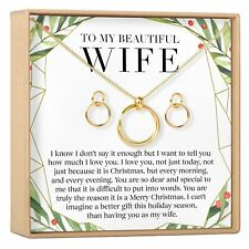 Christmas Gift for Wife Linked Circles Earring and Necklace Jewelry Set