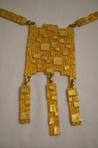 Magnificent Runaway Gold Tone Statement Texture Dangle Necklace Rare*****