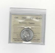 **1968 Silver**, ICCS Graded Canadian, 25 Cent, **MS-65 Cameo**