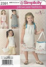 Simplicity 2391 Pattern Sizes 3 4 5 6 7 8 Pillowcase Dress Top Pants & Bag