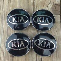 4x 60mm KIA noir argent jantes couvercle moyeux capuchon roue enjoliveur caché