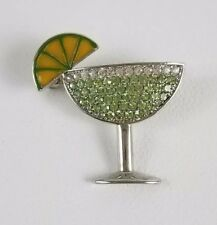 Brooch Green Margarita Cocktail White And Green Rhinestones and Enamel Lemon