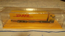 "DHL SEMI TRUCK & TRAILER 7"" MODEL W/CASE YELLOW MINT"