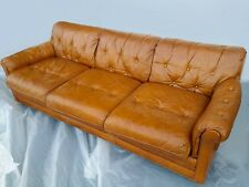 "86"" Long Cigar Sofa Couch Tufted Brown Leather Mad Men"