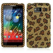 For Motorola DROID RAZR HD Crystal BLING Hard Case Snap On Phone Cover Leopard