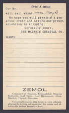 Ca 1916 MALTBIE CHEMICAL CO SALESMAN CALLING CARD FOR ZEMOL SEE INFO